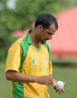 Abhimanyu Rajp bowled  Cosmos to victory over Friends, picking up 5 for 41. Photo by Shiek Mohamed