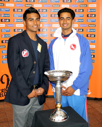 Shiva Vashishat (left) with current USA skipper Muhammad Ghous at the 2010 ICC Under-19 World Cup.