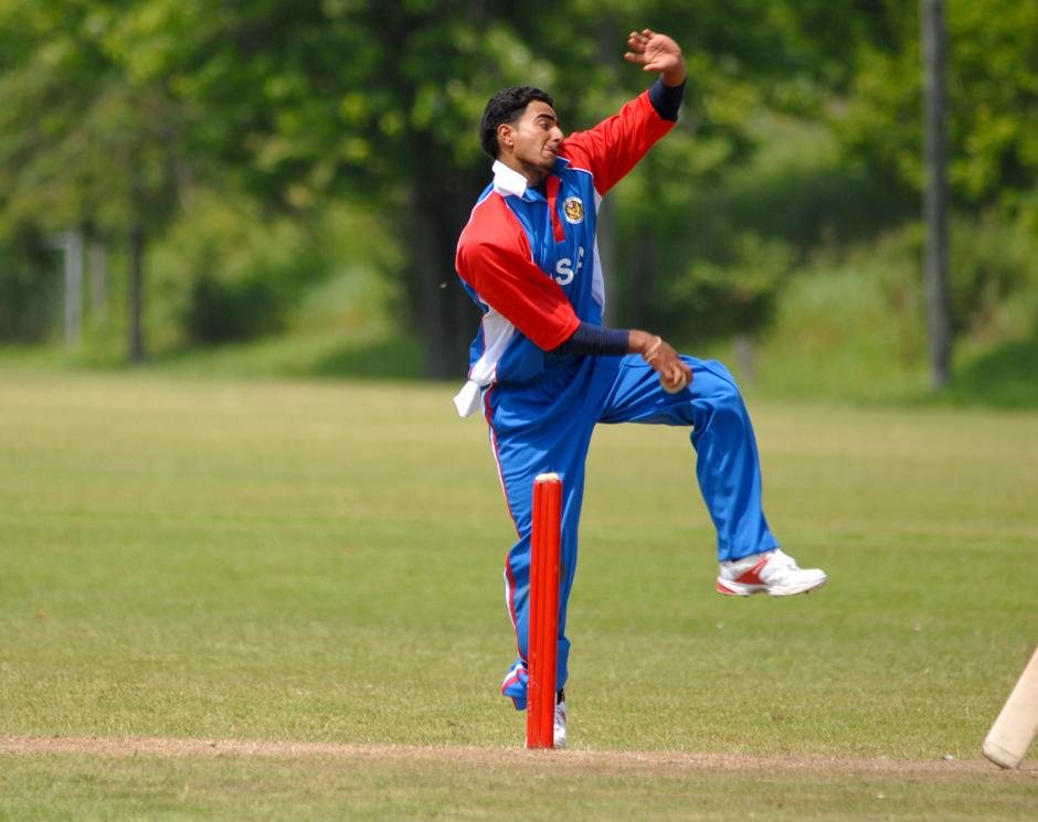 Shiva Vashishat who led the USA Under-19 team at the ICC Under-19 Cricket World Cup seen here bowling against against Canada during