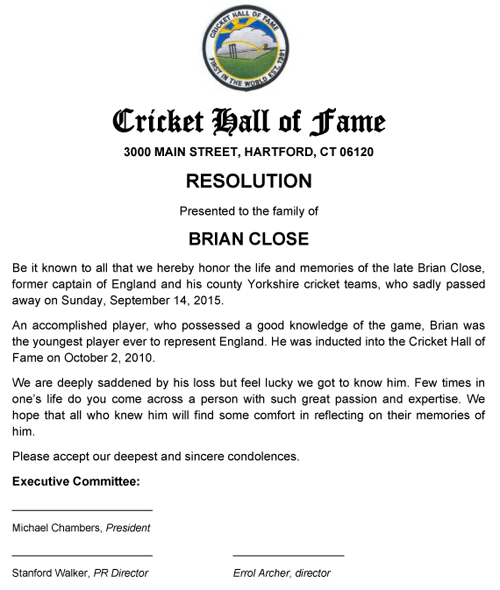 Resolution to Brian Close's family 2015