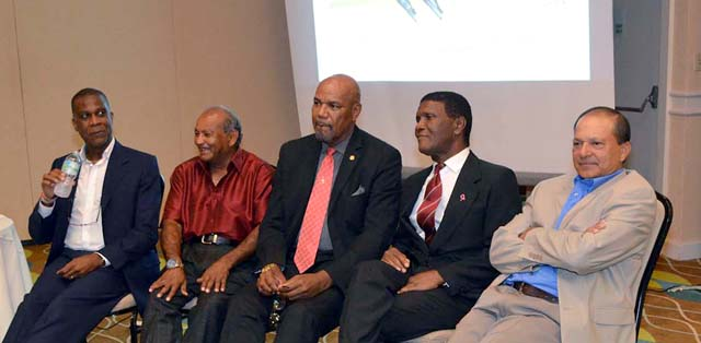West Indies Test Legends (L to R) Michael Holding, Alvin Kallicharran, Colin Croft, Lawrence Rowe and Faoud Bacchus answer questions at ACF dinner.