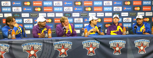 (L to R) Shoaib Akhtar, Kumar Sangakkara, Shane Warne, Sachin Tendulkar, Ricky Ponting and Virender Sehwag answer questions at the All Stars post game press conference. Photo: John L. Aaron