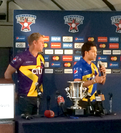 Shane Warne (left) and Sachin Tendulkar at the press conference which was held in New York City. Photo by John Aaron