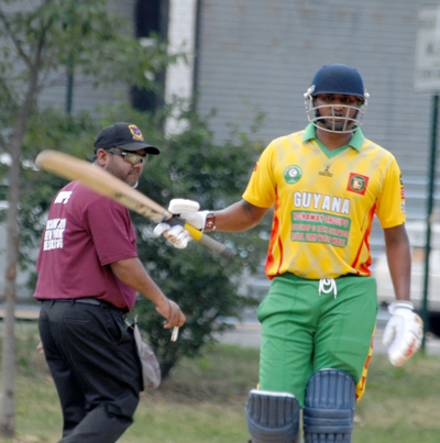 Guyana skipper Karan Ganesh has a superb game, hitting an unbeaten 58 and picking up 2 for 9.