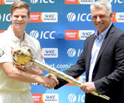Australia Skipper Steve Smith Receives ICC Test Championship Mace