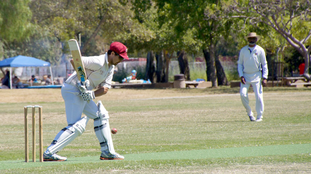 NVCC batsman Tim Kay pictured at the crease during the recent game against Marin Socials CC.