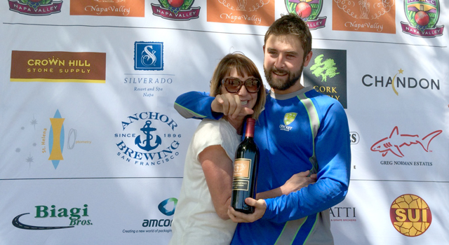 •SF Seals opening batsman Cooper Lees (R) pictured with his mom at the presentation of the Clos du Val Man of the Match award recently.