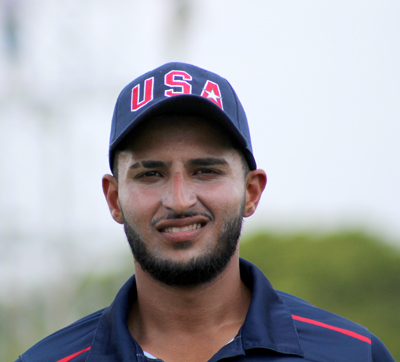 Fahad Babar at the USA Cricket trials in Florida earlier this month. Photo by Jayden Higgins