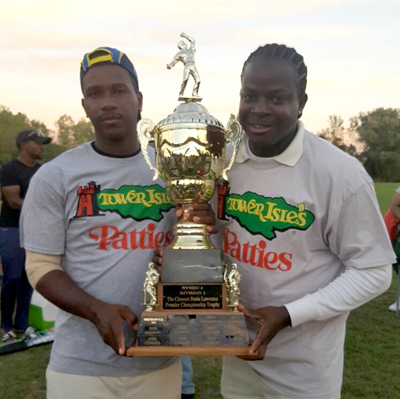 Joseph Brown (left) and Horace Porter with trophy.