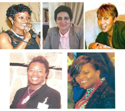Pictured clockwise, Roselyn Emmanuel, Ivy Mahabir, Lorna Austin, Venelda Wallace and Petal Samuels.