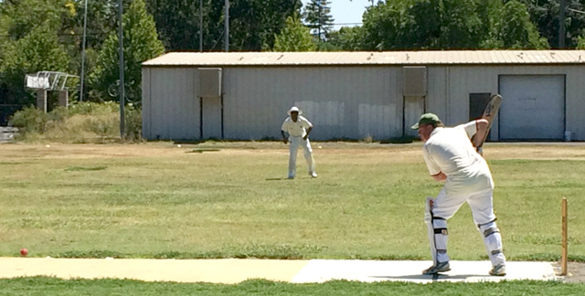 NVCC batsman Pete Carson pictured during one of his recent fine innings at the Fairgrounds in Calistoga