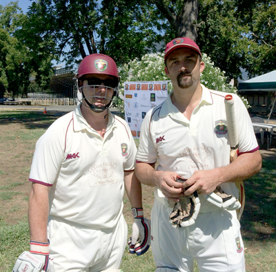 NVCC club captain Rob Bolch (L) pictured with fellow NVCC batsman John Leake.