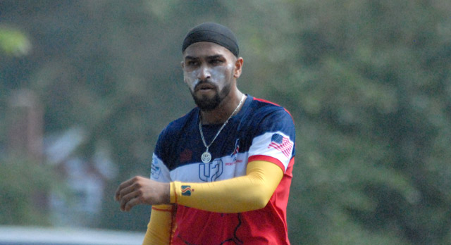 Jasdeep Singh was the most successful USA bowler, picking up 4 for 51. Photo by Shiek Mohamed