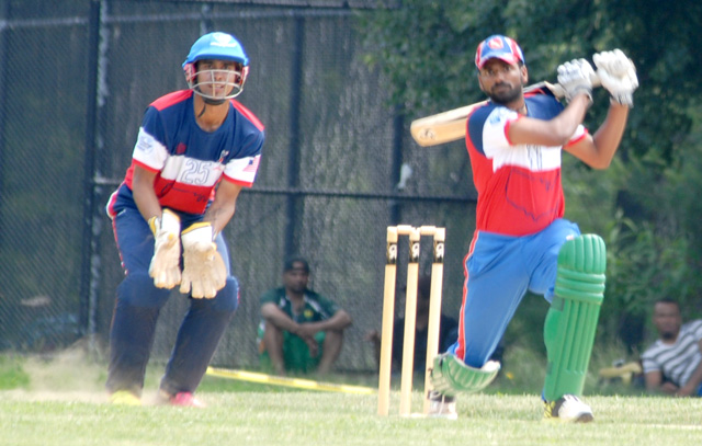 Prashanth Nair of New York batting during the USA Cricket combine at Van Cortland Park, New York. Photos by Shiek Mohamed