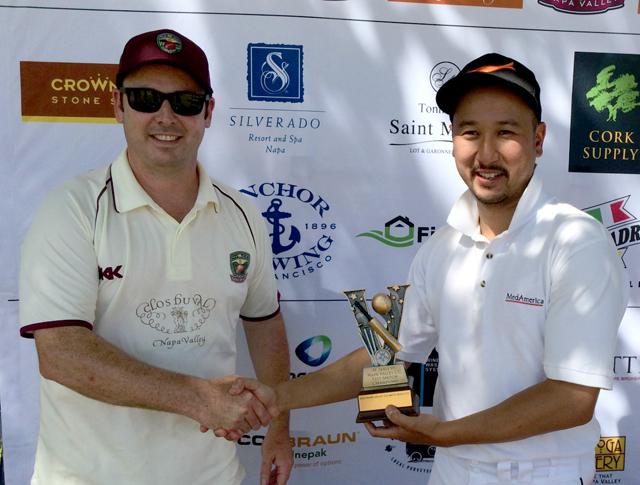 NVCC club captain Rob Bolch (L) presents Jack Tse (R) of the SF Seals with the Vino Cup in July.