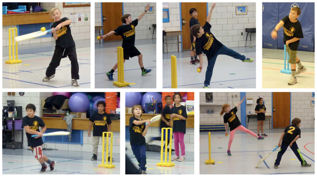 Kids during the first-ever intramural cricket program at Hillsmere Elementary School in Annapolis, Maryland.
