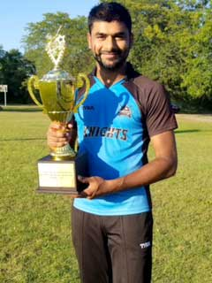 Raj-Ardham seen here with his man-of-the-match award.
