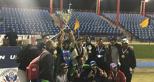Somerset Cavaliers lifts the 2017 US Open T20 tournament trophy after beating US All Stars in the final